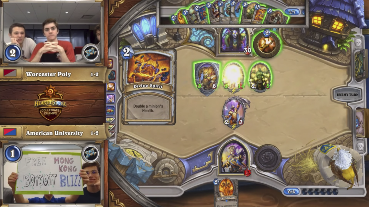 """Collegiate Hearthstone Championship match ends with call to 'free Hong Kong, boycott Blizz""""http://www.pcgamer.com/"""" PC Gamer"""